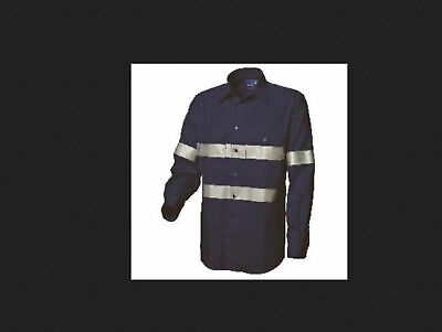2x BNWT Worksense WS918441 5XL Long Sleeve Mens Reflect Tape Navy FREE POSTAGE