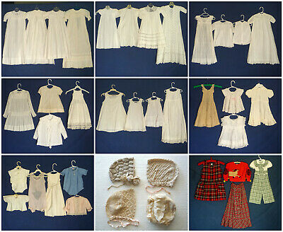 Lot of 38 Antique Victorian Vtg Baby and Childrens Clothes and Christening Gowns