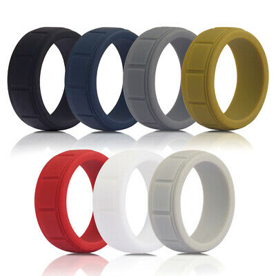 Flexible Medical Grade Silicone Wedding Ring Men Sport Rubber Band Fashion Gift