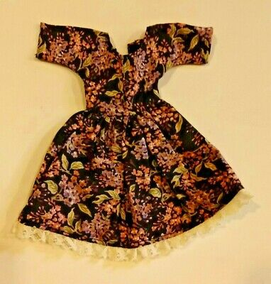 Barbie Handmade sewn dress brown pink floral print lace fashion doll clothes Z32