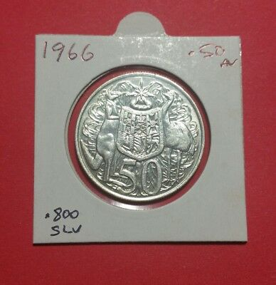 Australian 1966 Round Fifty Cent .50c Coin in Archve Sleeve  –  Silver Coin