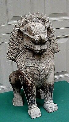 ANTIQUE 19c CHINESE  LARGE FOO-LION POTTERY GLAZED STATUE HIGH RELIEF DECORATION