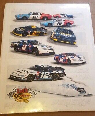 "NASCAR / PENSKE Racing ""50 Wins"" Signed & Numbered Poster-Never Opened- '73-2003"