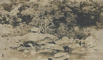 OLD VINTAGE ANTIQUE PHOTO of TWO MEN ON A GIANT ROCK IN A RIVER
