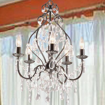 New Rustic Industrial Crystal Pendant Light Loft Vintage Chandelier Ceiling Lamp
