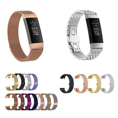 For Fitbit Charge 3 Wristband Metal Stainless Magnetic Loop Band Strap