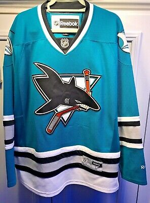 San Jose Sharks Jersey NHL Reebok Teal Size Large