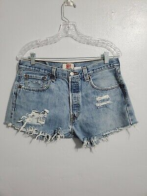 a82799e9 501 Levi's High Rise Button Fly Denim Women's Shorts Size 33 Distressed  Blue.
