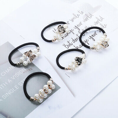 2PCS Women's Crystal Beads Hair Rope Ring Tie Scrunchies Pearl Ponytail Holder