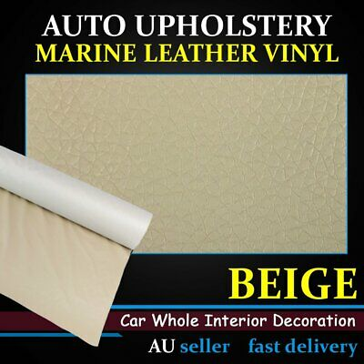 Beige Synthetic Leather Fabric Upholstery Seat Furniture Vinyl Auto Marine Home