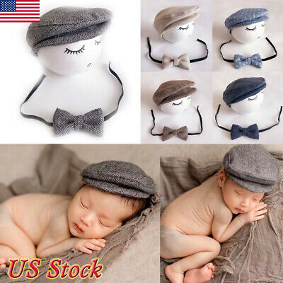 9ae07060 Newborn Baby Peaked Beanie Cap Hat+Bow Tie Photo Photography Prop Outfit Set  New