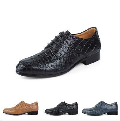 Oxfords Mens Leather Pumps Chunky Alligator Pattern Lace Up Leisure Party Shoes