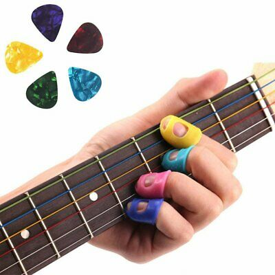 4 Guitar Silicone Fingertip Protectors Bass Ukulele Thumb Guards Finger + 5 Pick