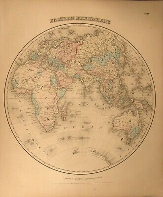 Antique 1859  Colored Engraving Map Eastern Hemisphere Colton's General Atlas