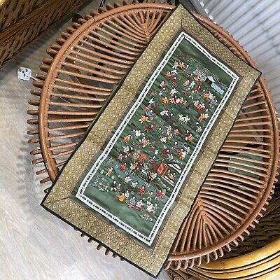 1930s Chinese Embroidery Antique Vintage 1920s Retro Silk Embroidered Sampler