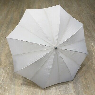 1960s Vintage Umbrella Parasol Cream Nylon St. Michael British 1950s Retro Old