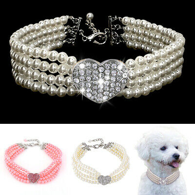 Pet Dog Cat Crystal Heart Pearl Collar Bling Rhinestones Party Princess Necklace