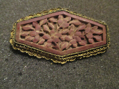 "Antique Chinese Carved  Floral Pin In Brass Bezel. 2 1/2"" In Diameter"