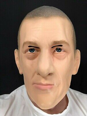 Realistic White Male Man Latex Mask Disguise Halloween Thug Hard Man Costume