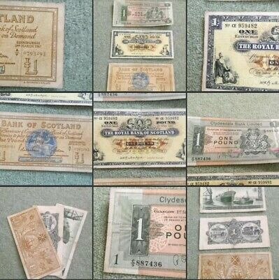 *Vintage* Collectible One Pound Notes Royal Bank Scotland Clydesdale 1947-65-69