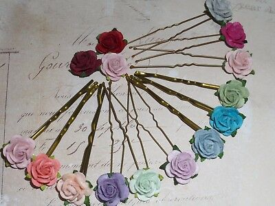 Rose Kirby Grips / Hair pins,Festival,Flower Girl,Party,Pink,Blue,Peach,Coral