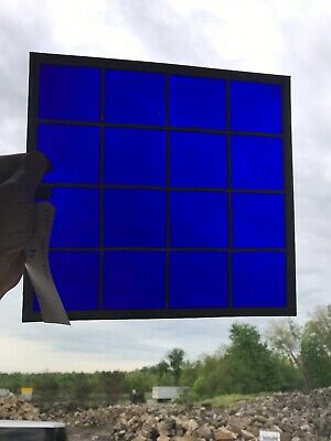 12 available price separate antique Stainglass cobalt blue window 10.75 x 11.5