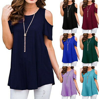 Plus Size Womens Cold Shoulder T Shirt Ladies Short Sleeve Loose Blouse Tee Tops