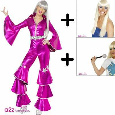 1970's Dancing Dream Pink COSTUME + WIG + MIC  Mamma Mia Abba Fancy Dress Outfit