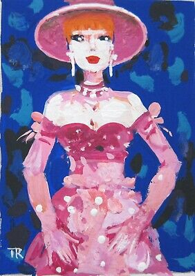 Original ACEO  watercolor gouache painting  girls vintage erotic glamour