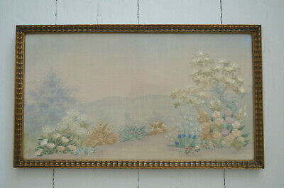 Needlepoint Picture Beautiful Vintage Embroidery VERY OLD Framed SHABBY CHIC