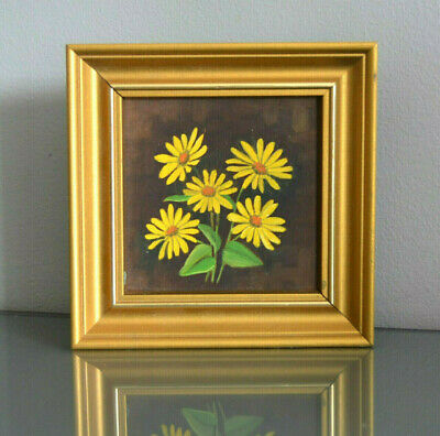 Scandinavian Impressionism Yellow Flowers Framed Oil Painting Finnish Floral