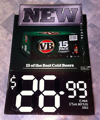 Vintage First Release of VB 15 Pack Stubbies Corflute Advertising Display Sign