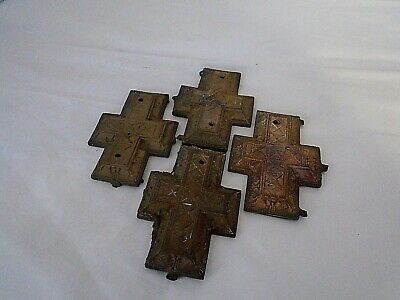 ANTIQUE Vintage set of four French BRASS COFFIN FITTINGS mounts crosses plates