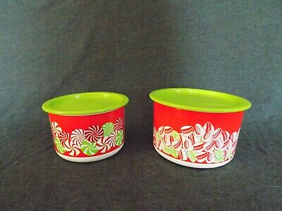 Tupperware One Touch Red & Green Candy Canister Containers Green Lids 2708 2707
