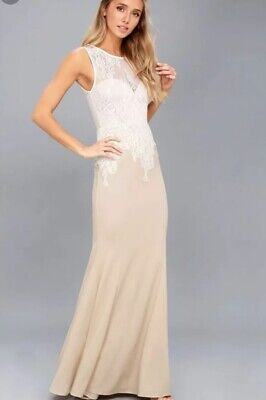2fd953d111360 NWT Lulus Lovers Lace Gown Maxi Dress Nude White Formal Medium wedding