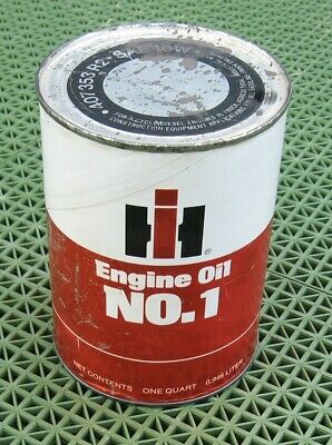VINTAGE IH INTERNATIONAL HARVESTER FULL QUART CARDBOARD OIL CAN Engine 407353R2