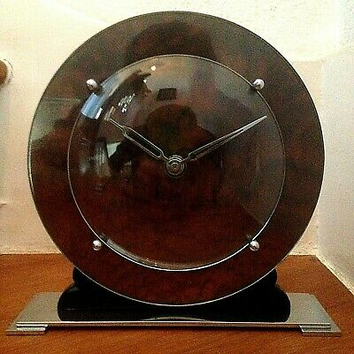 A SUPERB 1930's ART DECO CHROME & VENEER MANTLE CLOCK - MINIMALIST MODERNIST