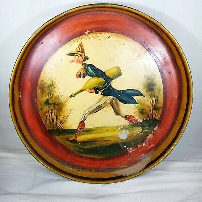 Signed Peter Ompir Gentleman With Champagne  Hand Painted Folk Art Metal Tray