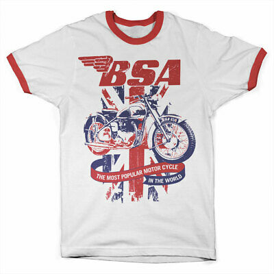 Official Licensed B.S.A. UNION JACK Ringer T-Shirt S-XXL Sizes