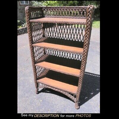 Great Antique Victorian Bar Harbor Wicker & Oak 4 Shelf Bookcase