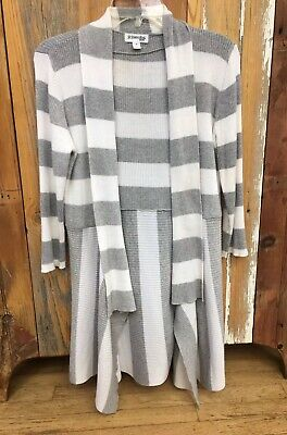 cb8b3dd2427d39 St John's Bay Women's Grey White Striped Cardigan Small Open Front Knit  Sweater