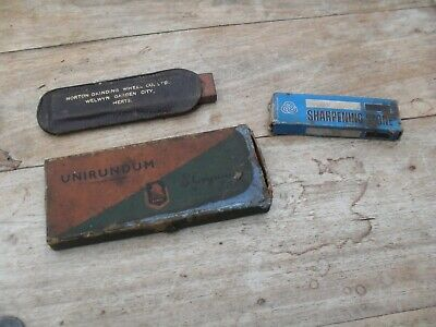 3 small sharpening stones norton grinding wheel , unirundum , + other