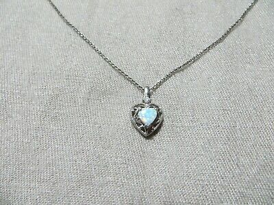 Vintage 925 Sterling Open Ornate Heart Pendant w/Opal /Cz. Stones Chain Necklace