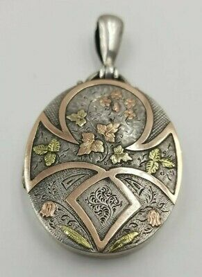 """Antique Victorian Locket Tri Color Silver Gold Oval Large 1.75"""" Aesthetic Floral"""