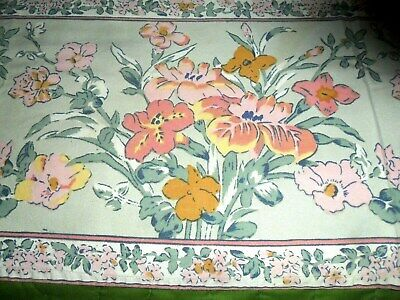 VINTAGE All cotton TRAILING PINK /YELLOW FLOWERS TABLECLOTH  BORDER PRINT-50 X70