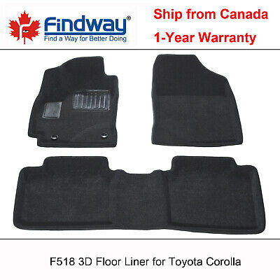 Black All Weather 3D Car Floor Mats / Floor Liners for 2014-2019 Toyota Corolla