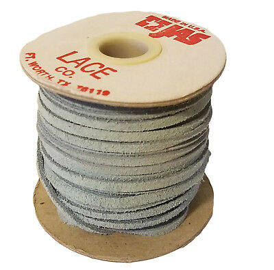 "Vintage TEJAS Genuine Suede Lace Cord 1/8"" (3 mm) x 25 yds Light Blue (1 spool)"