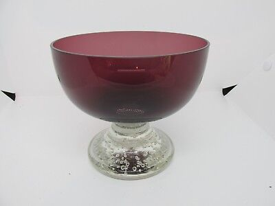 Vintage COMPOTE Art Glass Controlled Bubbles Amethyst Purple Candy Dish VGVC