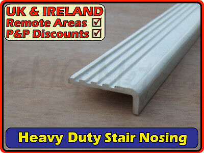"Aluminium Stair Nosing (L section,edging,fluted angle,heavy duty) | 1.5"" x 0.5"""