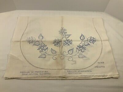 """Vintage Linen Stamped for Embroidery Flowers Table Runner Dresser Scarf 53""""x18"""""""